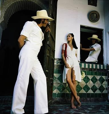Photograph - Model Wearing An Adolfo Jumpsuit by Raymundo de Larrain