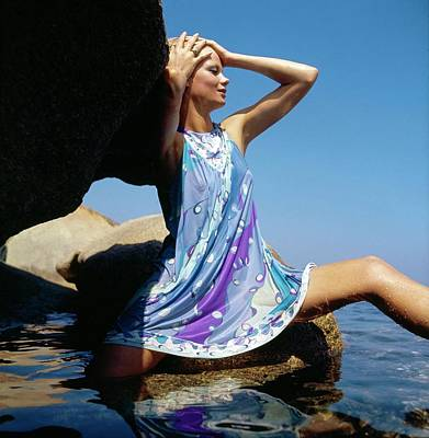 Photograph - Model Wearing An Emilio Pucci Nightgown by Henry Clarke