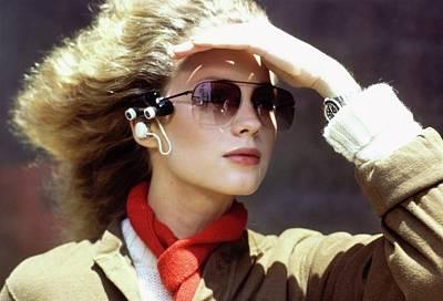 Photograph - Model Wearing An Eyeglass-mounted Radio by Arthur Elgort
