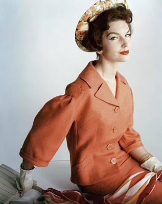 Photograph - Model Wearing An Orange Wool Suit By Dan by Henry Clarke