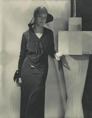 Model Wearing Black Dress And Hat Art Print