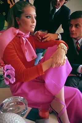 Model Wearing Boe Jests Pink Pants Art Print