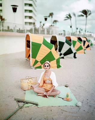 1950s Fashion Photograph - Model Wearing Cabana Swimwear On A Beach by Richard Rutledge
