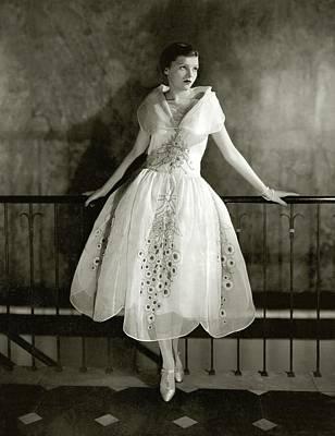 Full Skirt Photograph - Model Wearing Dress By Lanvin by Edward Steichen