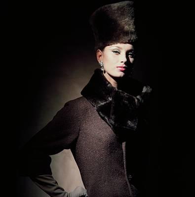 Model Wearing Fur Fez And Collar Art Print