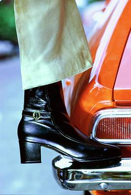American Car Photograph - Model Wearing Givenchy Boots by Bob Stone