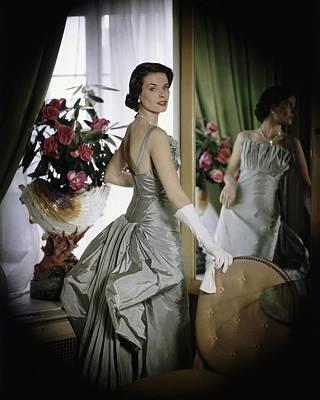 Model Wearing Gown By Castillo Art Print