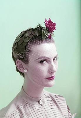 Earrings Photograph - Model Wearing Hat Of Leaves And A Rose by Clifford Coffin; Frances McLaughlin-Gill