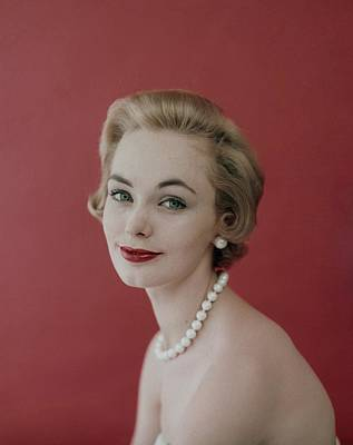 Woman Head Photograph - Model Wearing Pearl Necklace by Karen Radkai