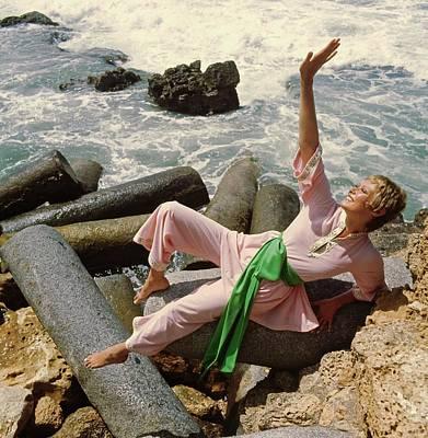 Photograph - Model Wearing Pink Kayser Pajamas by John Cowan