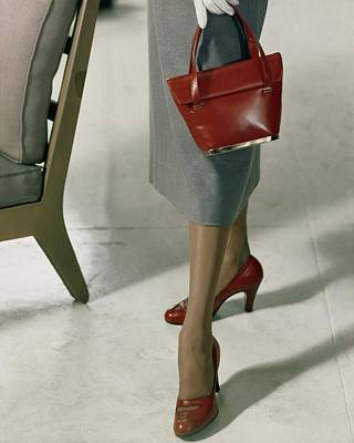 Leather Purses Photograph - Model Wearing Red Pumps And Purse by Frances McLaughlin-Gill