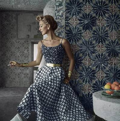 Ceramic Tile Photograph - Model Wearing Sportwhirl In Portugal by Henry Clarke