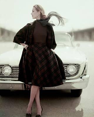Full Skirt Photograph - Model Wearing Suit By Bud Kilpatrick by Karen Radkai