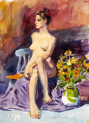 Painting - Model With Flowers by Mark Lunde