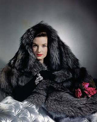Silver Photograph - Model With Jacket Fox Stole by Horst P. Horst
