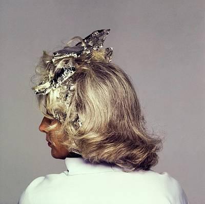 Woman Head Photograph - Model With Tin Foil Wraps In Hair by Francesco Scavullo