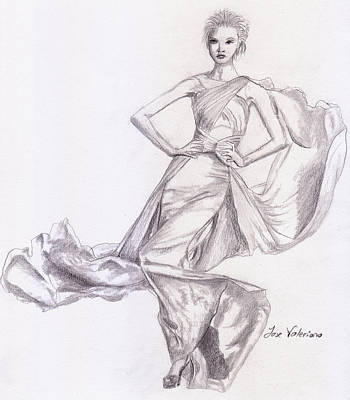 Drawing - Modeling A Dress by M Valeriano