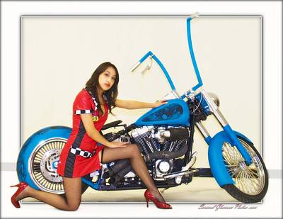 Photograph - Models And Motorcycles_b by Walter Herrit