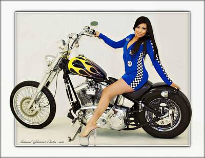Photograph - Models And Motorcycles_h by Walter Herrit