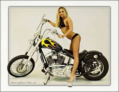 Photograph - Models And Motorcycles_i by Walter Herrit