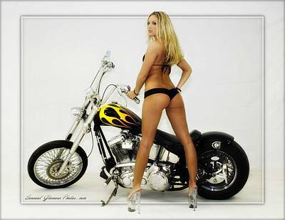 Photograph - Models And Motorcycles_j by Walter Herrit