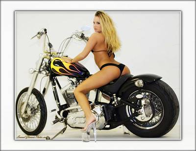Photograph - Models And Motorcycles_k by Walter Herrit
