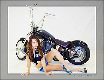 Photograph - Models And Motorcycles_o by Walter Herrit