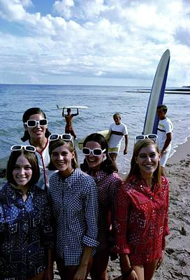 Button Down Shirt Photograph - Models And Surfers On A Beach by William Connors