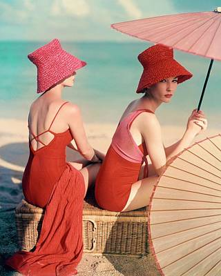 Headgear Photograph - Models At A Beach by Louise Dahl-Wolfe