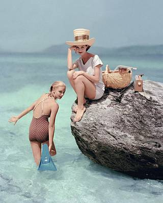 Headgear Photograph - Models At A Beach by Richard Rutledge