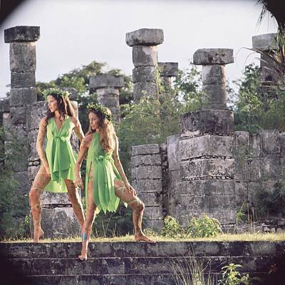 Trio Photograph - Models At The Xiochicalco Ruins by Henry Clarke