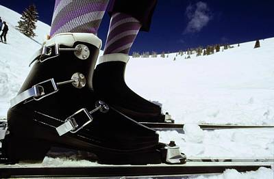 Photograph - Model's Feet Wearing Lange Ski Boots by Arnaud de Rosnay