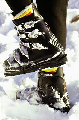 Photograph - Model's Feet Wearing Ski Boots by Arnaud de Rosnay