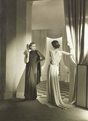 Photograph - Models In Lucien Lelong Dresses And Mauboussin by Horst P. Horst