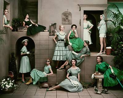 Sitting Photograph - Models In Various Green Dresses by Frances Mclaughlin-Gill