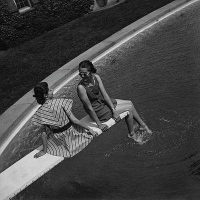 Bathing Suit Photograph - Models On A Diving Board by Toni Frissell