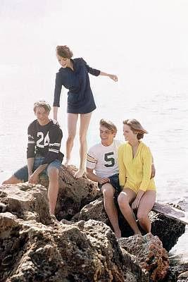 Young Man Photograph - Models On A Rock by William Connors