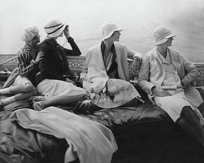 Headgear Photograph - Models On A Yacht by Edward Steichen