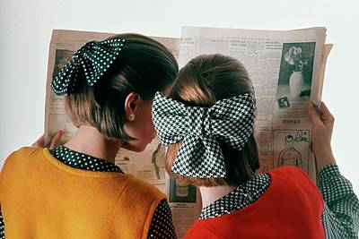 Woman Head Photograph - Models Reading Newspaper by Frances McLaughlin-Gill