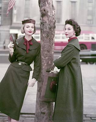 Winter Trees Photograph - Models Standing By A Tree by Frances McLaughlin-Gill