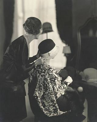 Cloche Hat Photograph - Models Trying On Hats by Edward Steichen