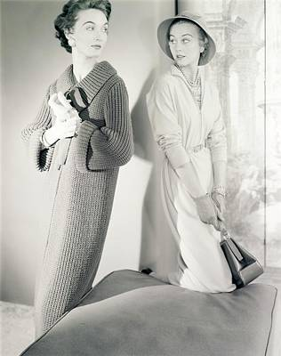 Photograph - Models Wearing A Coat And Dress by Horst P. Horst