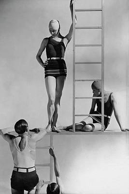 Fashion Design Photograph - Models Wearing Bathing Suits by George Hoyningen-Huene