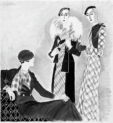 Models Wearing Bergdorf Goodman And Best Art Print by R.S. Grafstrom