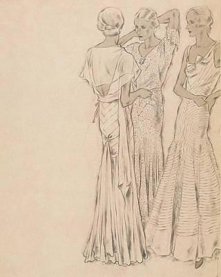 Chiffon Digital Art - Models Wearing Chanel Evening Gowns by Helen Dryden
