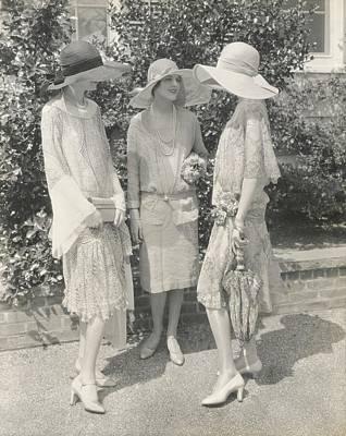 Models Wearing Chiffon Dresses Art Print