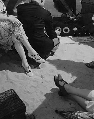 Sitting Photograph - Models Wearing Crocheted Shoes by Edward Steichen