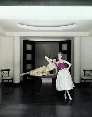 Photograph - Models Wearing Dresses by John Rawlings