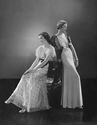 Evening Dress Photograph - Models Wearing Evening Dresses by Edward Steichen