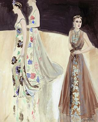 Models Wearing Evening Gowns Art Print by R.S. Grafstrom